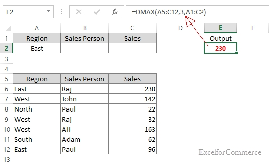 DMAX Excel example