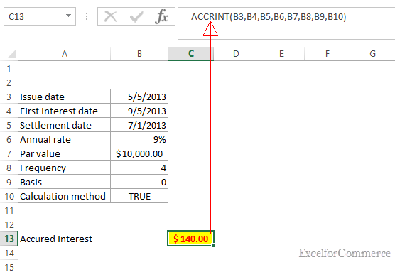Excel For Commerce How To Calculate Accrued Interest