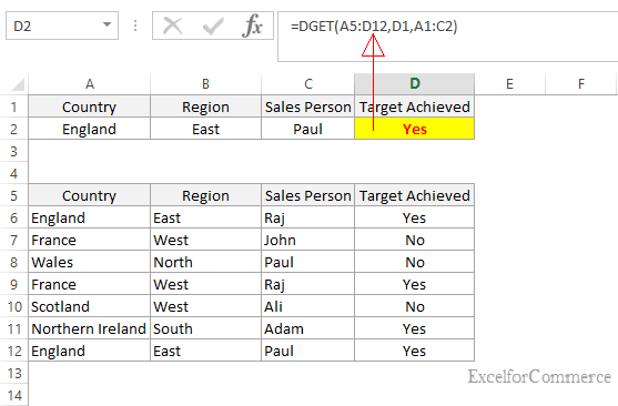 DGET function in excel