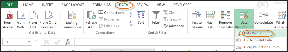 dropdown in excel 1