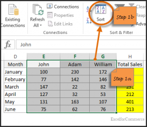 sort horizontally in excel 3