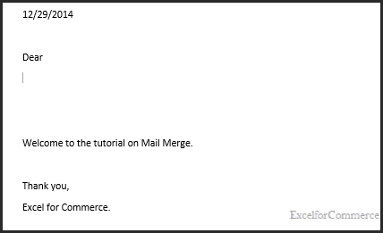 mail merge in excel 2
