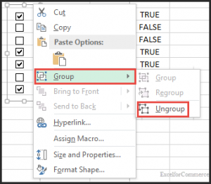 grouping checkboxes in excel 1