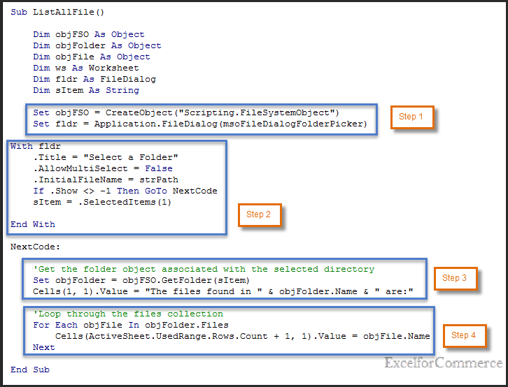 browse and select folder vba 3