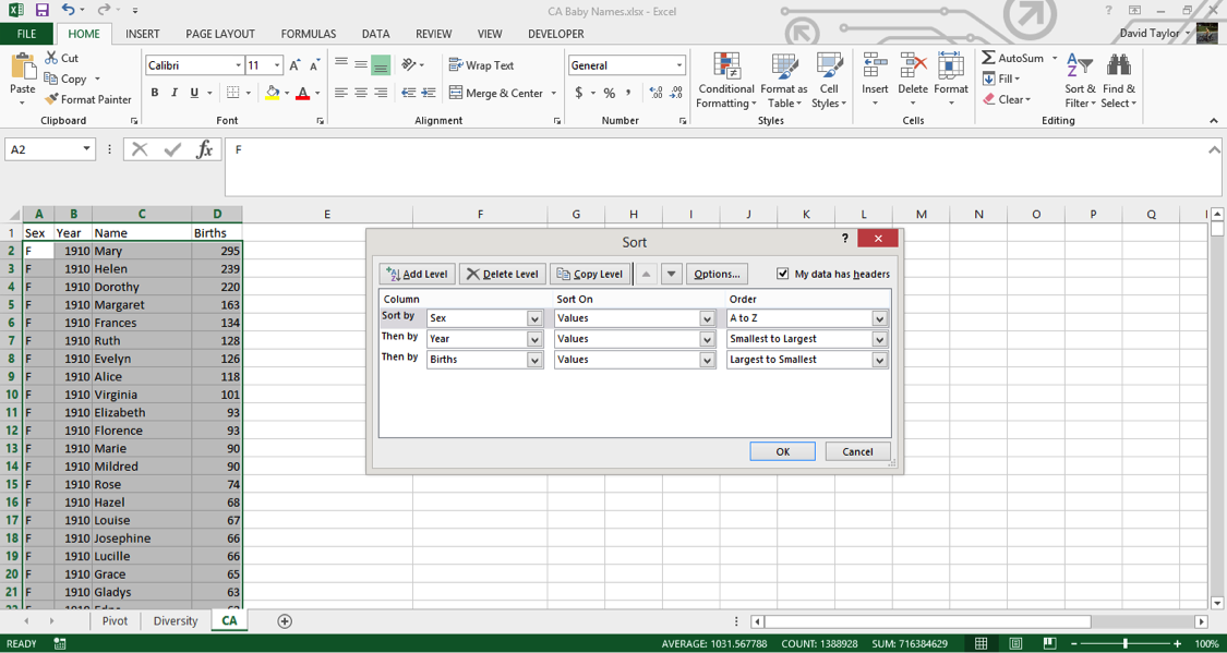 analyze large data sets excel 12